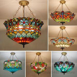 Tiffany retrô manchado pingente luzes vintage mediterrâneo barroco barroco pendurado lâmpada para sala de jantar barra de cozinha luminárias de cozinha