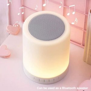 LED Colorful Night Light Touch Desk Lamp Wireless Bluetooth Speaker Time Alarm Clock with Colored Light Flashing Home Table Lamp