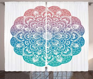 Curtain & Drapes Mandala Curtains Paisley Floral Gradient Pattern Yin Yang Cycle Of Life Earth Theme Window For Kids Room