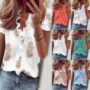 Camisas de moda de mujer de gran tamaño de verano Impresión de mujeres de impresión de loto Blusa de collar de hoja suelta de manga corta camisas Casuales Tops S-5XL