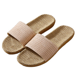 Suihyung Women Summer Shoes 2021 New Unisex Flax Slippers Comfortable Flat Casual Slides Ladies Indoor Flip Flops Female Sandals 210225