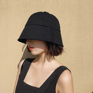 Black bucket fisherman's Women's summer thin Korean sun protection and UV sunshade Hat
