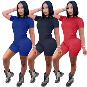 Womens Outfits Two Pieces Set Tracksuits Short Sleeve Shorts Top Shorts Sportswear Ladies New Fashion Pants Set New Type Hot Selling klw6126