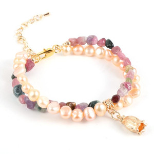Double Layer Freshwater Pearl Colorful Natural Tourmaline Stone Bead Bracelet Women Girls Fashion Flower Charm Bracelets Jewelry
