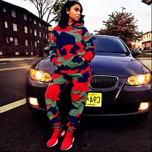 Long Sleeve TWO PIECE SET Hoodie Print Camouflage Tracksuit Survetted Women Runway Pants Joggers Sweat Suit Streetwear Clothes
