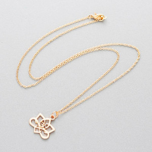 CHENGXUN Graceful Lotus Flower Spiritual Energy Charm Pendant Necklace for Women Gold Choker Fashion Girlfriend Gift Girl