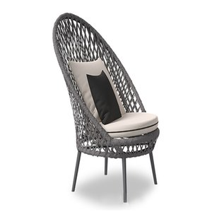 simple Fashion Outdoor Furniture sponge aluminium alloy cloth Woven rattan Hollow out Pure colors Chair Loveless Backrest for Home Hotel restaurant