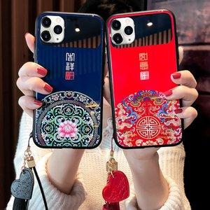 Chinesische Schriftzeichen Quasten Makeup Mirror Phone Case für 12mini 11 Pro Max Hard Cover für iPhone 7 8 plus x XR xs MAX Back Cover
