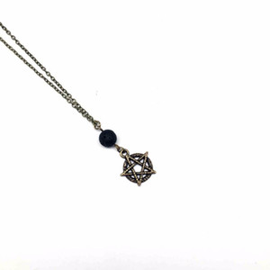 1Pcs Black Lava Stone Diffuser Round Star Necklace Essential Oil lava Diffuser Necklace Aromthraphy Jewelry Sweater