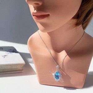 Ciondolo Topazio naturale, 9 collana Topaz, collana in argento sterling S925, gemma delicata Blue Gem Gemstone