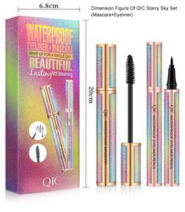 4D Fiber Lash Mascara Liquid Eyeliner Pencil kit Black Waterproof Makeup QIC starry sky Mascara Volume thick eyelash Long Lasting Eye liner