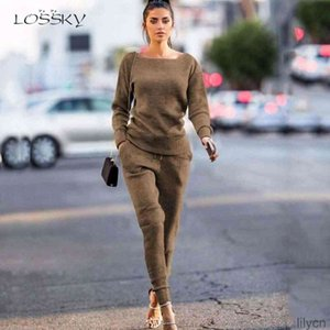 Two Piece Dress Sets Casual Solid Knitted Clothing Top+Lace-up Pant Women Fashion Autumn Winter Long Sleeve Outfits Lounge Wear
