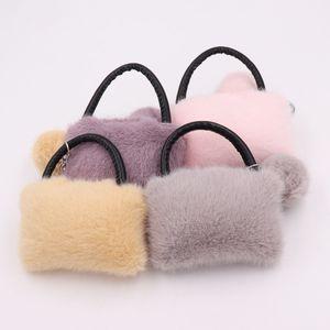 2021 New Fine Ladies Handbag Bag Shape Keychain Pendant Candy Color Stripes Girls Bag Car Buckle Plush Keychains Accessories