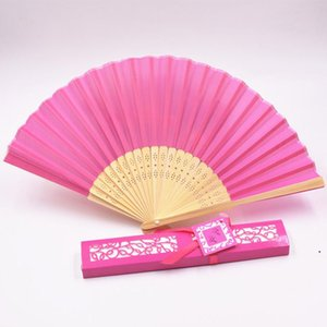 Silk Fan Fashion Silk Folding Hand Fans Dance Wedding Party Fold Fan Solid Color Fans Gift Paper Box Package Novelty 12colors DHA3743