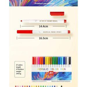 21/25 Color Pensaje de acrílico permanente Pens para tela lienzo, pintura de arte de arte, fabricación de tarjetas, metal y cerámica Qyltbd