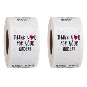 1000Pcs Round Thank You for Your Order Sticker Heart Thanks for Shopping Small Shop Local Handmade Sticker White Labels