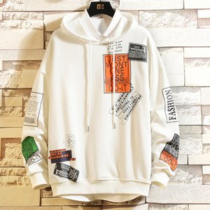 Hot New Guyi Letter Printed Hooded Men Pullover Hoodies Sweatshirts Male Harajuku Hip Hop Hipster Streetwear White Hoodie Off Tops 2021
