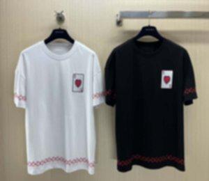 21ss Erkek Tee T Shirt Paris Poker Mektuplar Nakış Erkekler Giysileri Kısa Kollu Erkek Gömlek Etiketleri Etiketler Yeni Siyah Beyaz 03