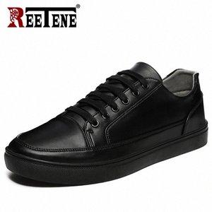 Retene 2019 Chaussures décontractées Hommes Cuir Appartements Plateau de lacets Chaussures Hommes Casual Mode Sneakers En Cuir Confortable Plat X1YZ #