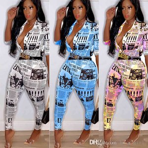 Women Tracksuits Two Piece Set Sweatsuit Outfit Newspaper Printing T-shirt Pullover Bodycon Leggings Pants Plus Size Autumn Clothing