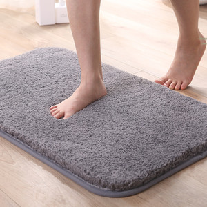 High Plush Shaggy Thickening Bath Mat Rug Nonslip Padded Floor Mat Carpet Simple Solidcolor Absorbent Water Foot Mat Machine Washable YL0276