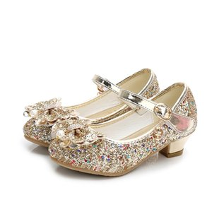 ULKNN Autumn Baby Girls Shoes For Children Princess Butterfly Flower Pearl Glitter Casual Leather Kids Shoes Purple Pink Gold 210306