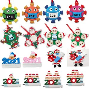 PVc Personalized Family of 1 2 3 4 5 6 7 Christmas Tree Ornament 2021 Cute Santa Deers Gift Xmas Decorations w-00975