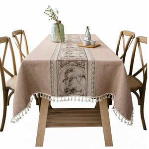 Japanese-Style Cotton Linen Rectangle Tablecloth,Christmas Decoration Table Cloth Waterproof Fabric,Doilies for Kitchen Birthday L0220