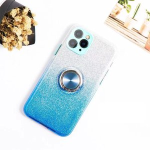 Bling Glitter Gradient Soft Case For iPhone 12 Pro Max 11 XS X XR 7 8 Plus SE 2020 Phone With Ring Holder Stand Cover Women Girl