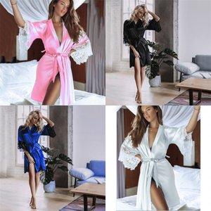 2020 Yeni Sexy Lingerie Transparan Yaz Seksi kadın Bayanlar Banyo Robe Kimono Robe Saten İpek Dantel Gece Giyim Elbise Pijama 514 R2