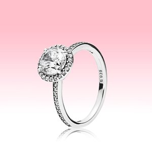 Authentic 925 Sterling Silver CZ Diamond RING with LOGO and Original box fit Pandora style Wedding Ring Engagement Jewelry for Women