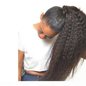8A Afro Kinky Straight Curl Ponytail Human Hair Extensions Natural Black Remy Human Hair Clip In Ponytails 100gram