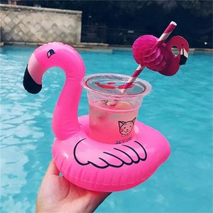 Inflatable Flamingo Drink Cup Holder Hot Sale Holder Pool Floats Bar Coasters Floatation Devices Children Bath Toy small size