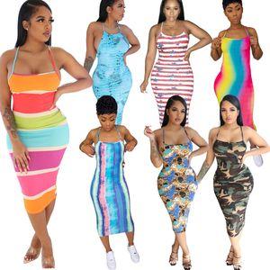Donne Dress Dress Halter Senza maniche Sexy Sospensione stampata Backless Leopard Tie Dye Colorful Moda Signore Abiti da donna 2021