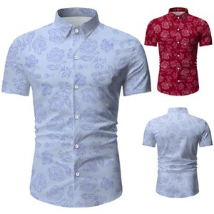 Sommerdesigner Floral Printed Male Polo Mode Business Herren T Shirts Casual Revers Hals Kurzarm Sleevetees