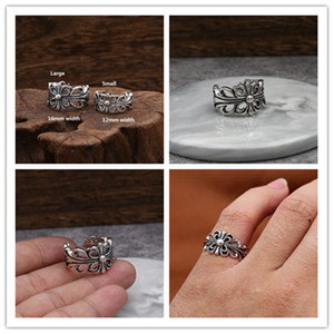 925 sterling silver handmade cross adjustable rings large & small American European punk gothic antique silver vintage luxury jewelry rings
