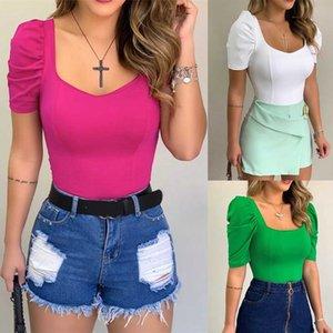 Clothes Luxury Designer Womens Pure Color 2020 Cuff Plaid Border Design Women Designer T Shirts Short Slee