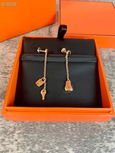 Luxury O'Kelly Brand Designer Copper With 18k Gold Plated Bag Lock Key Charm Long Chain Dangle Earrings For Women Jewelry