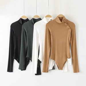 Tops T Shirt 2021 Spring Pullover, High Collar, Long Sleeve, Slim Fit, Solid Color, Diagonal Button Women's Onesies