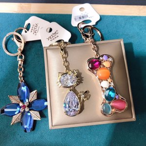 Fashion Personality Jewelry Bag Hanging Accessories Inlaid With Diamond Small Animal Bear Cute Key Ring Lady Cui