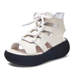 Giyu 2021 Летняя Новая Натуральная Кожа Женская Обувь Резиновые Сандалии Высокая Банда Толстое дно