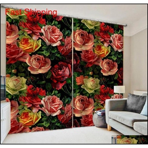 Luxury Blackout 3d Window Curtains For Living Room Bedroom Morden Flower Curtains 3d Ste jllDLA dh_garden