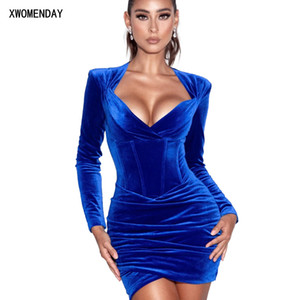 Sexy Bodycon Dresses For Women Clothes Sexy Club Outfits For Women Clubwear Velvet Dress Blue Slip Dress New Arrival 2021 Spring 210303
