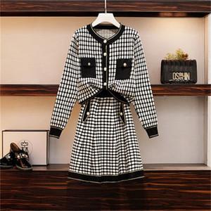 2021 New Autumn Winter Plaid Sweater Suit Women 2 Piece Long Sleeve o Neck Button Knitted Set Crop and a Line Skirt MFAQ