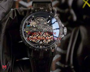 الرجال الساعات التلقائية ماستر 46 ملليمتر excalibur العنكبوت 18 PVD 316L الفولاذ المقاوم للصدأ الاتصال الهاتفي جوفاء رجل الرجال الرياضة الساعات المطاطية السوداء