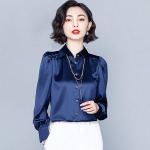 2021 Runway Spring Silk Button Shirt Long Sleeve Autumn Winter Fashion Women's Plus Size Tops Slim Elegant Office Ladies Designer Blouses