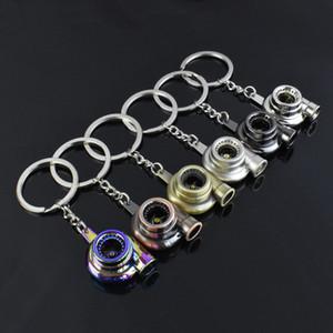 Metal Turbo Keychain Sleeve Bearing Spinning Auto Part Model Turbine Turbocharger Key Chain Ring 195 U2