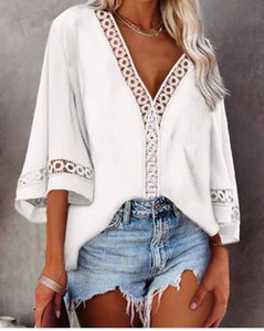Women's Blouses & Shirts 2021 Elegant Casual Summer Woman Blouse Shirt Solid Lace Hollow Out V-Neck Nine Quarter Loose Sexy Lady Blusas Wome