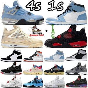 4 4s Sail University Blue 1 1s Mens Basketball Shoes Sneakers Hyper Royal Black Cat Silver Toe Bred Electro Orange Dark Mocha Fire Red Men Women Sports Trainers US 5-13