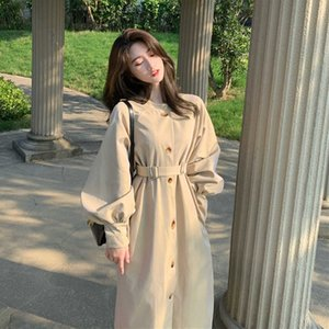 Temperament Trench Coat Womens Clothing 2021 Spring Autumn Korean Fashion Mid-length Loose All-match Elegant Woman Windbreakerx1016